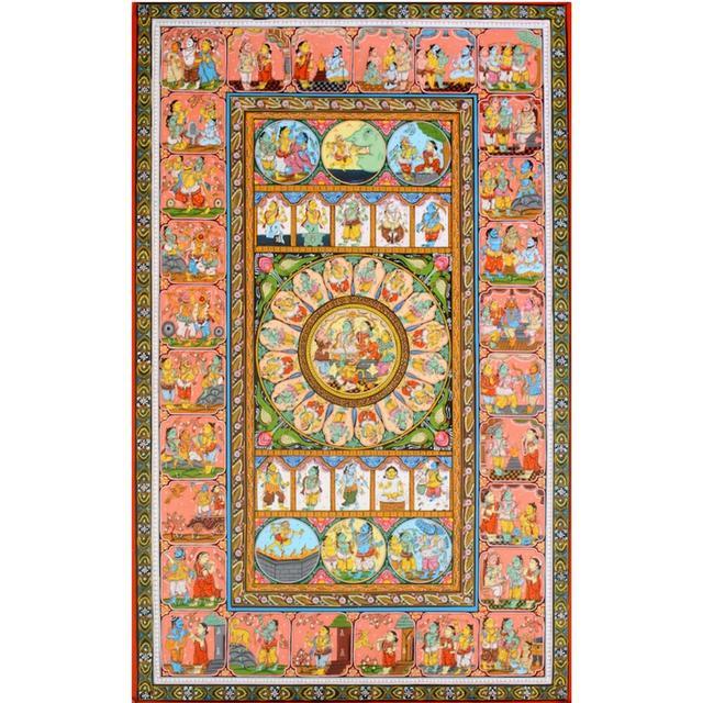 Pattachitra  - Ramayana story with Rama Pattabhishek in Colour