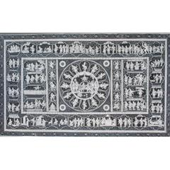 Pattachitra  - Ramayana story with Rama Pattabhishek in Black and White
