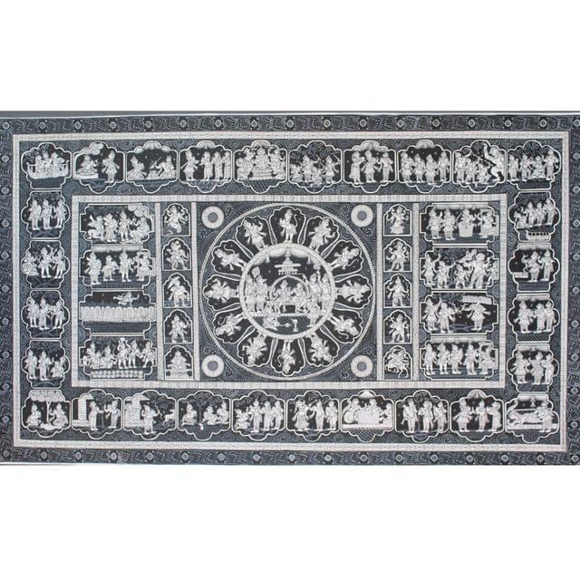 Pattachitra  - Ramayana story with Rama Pattabhishek in Black and White