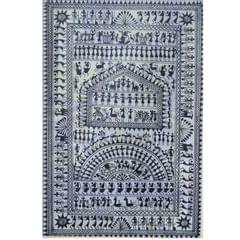 Saura art in Black and White on Tussar Silk - Village Scene