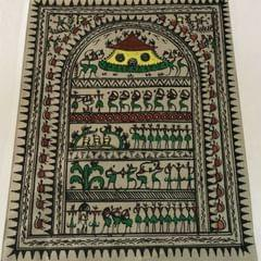 Saura art in colour  on Tussar Silk - Village Scene