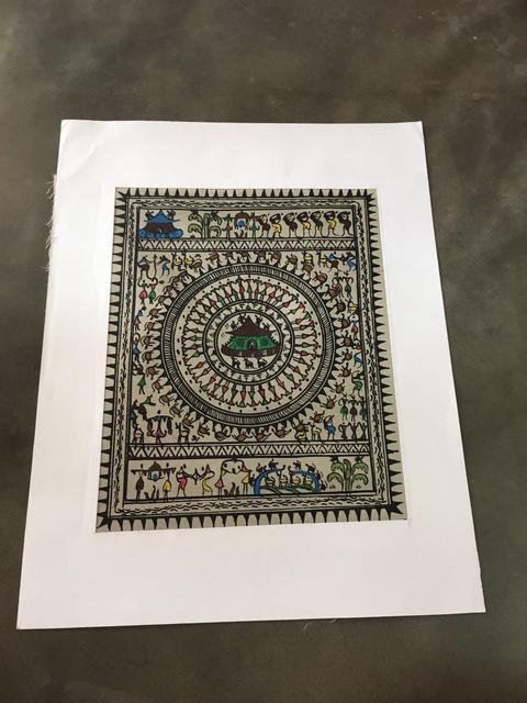 Saura art in colour  on Tussar Silk - Village Scene