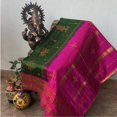 Kasuti Work - On Narayanpet Silk Saree - Green and Pink