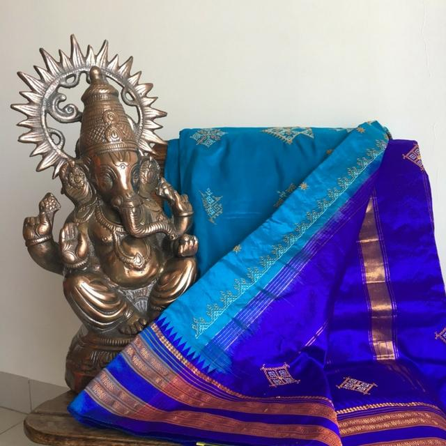 Kasuti Work - On Narayanpet Silk Saree - Shades of Blue