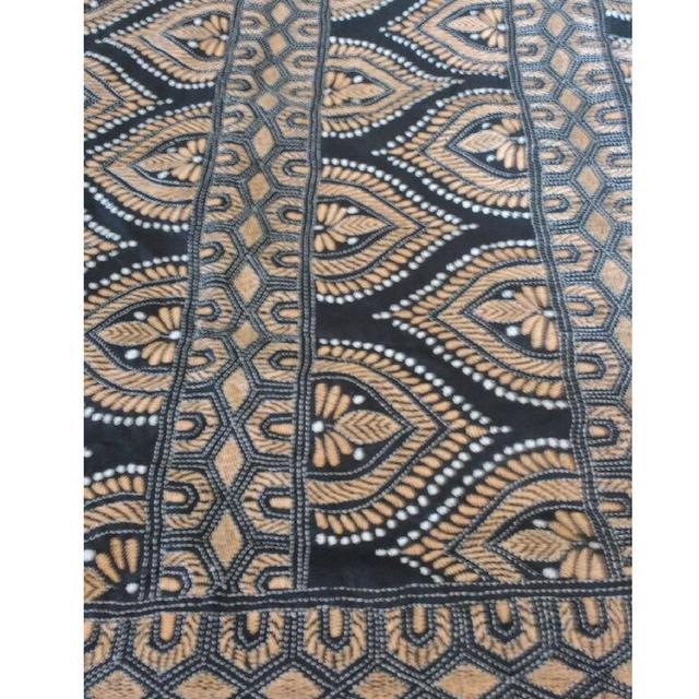 Kantha -  Light Brown Stitches On Black Silk
