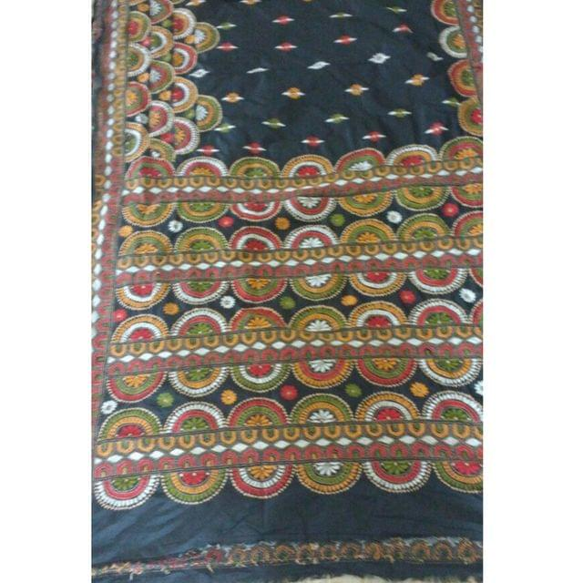 Kantha - Colourful Floral Pattern On Black Silk