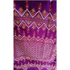 Kutch - Colourful Kutch Work on Purple Silk