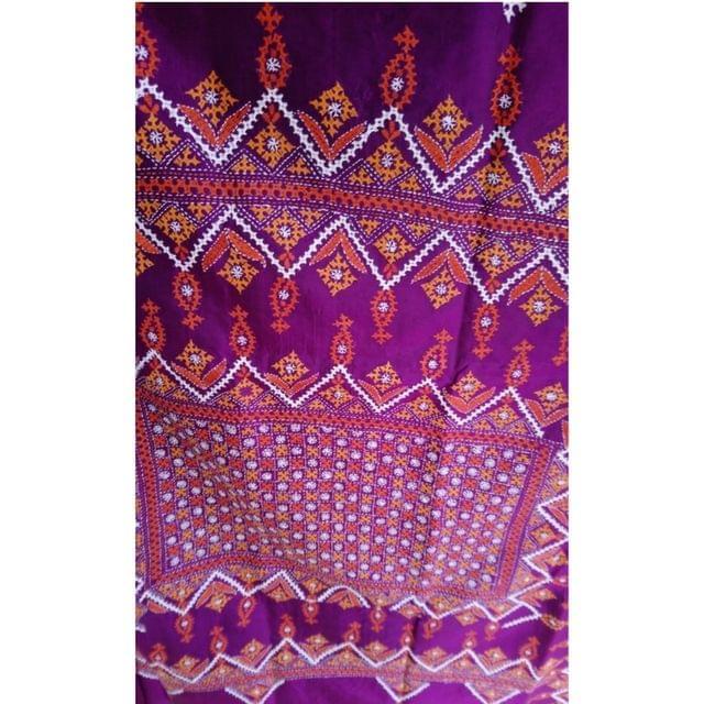 Kutch - Colourful Kutch Work on Purple Silk