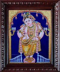 Lord Krishna with Flute - Tanjore Painting