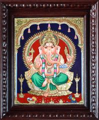 Ganesha on Golden Lotus - Tanjore Painting