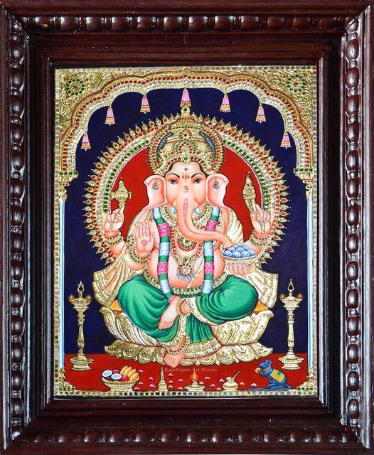 Ganesha on Golden Lotus - Tanjore Painting