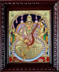 Saraswati in Golden Hues _ Tanjore painting