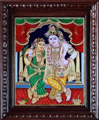 Krishna with Rukmini - Tanjore Painting