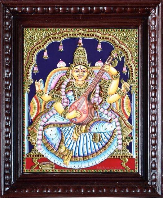 Classic Saraswati in White - Tanjore Painting