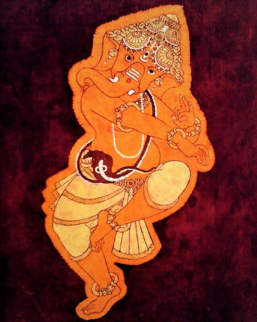 Baatik Painting - Dancing Ganesha