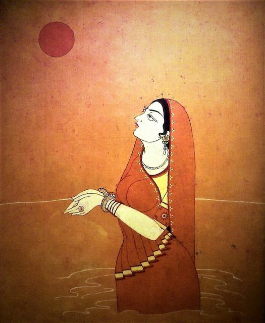 Baatik Painting - Surya Puja