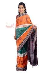 Single Ikkat Saree In Tri Colour - Saffron, White And Green