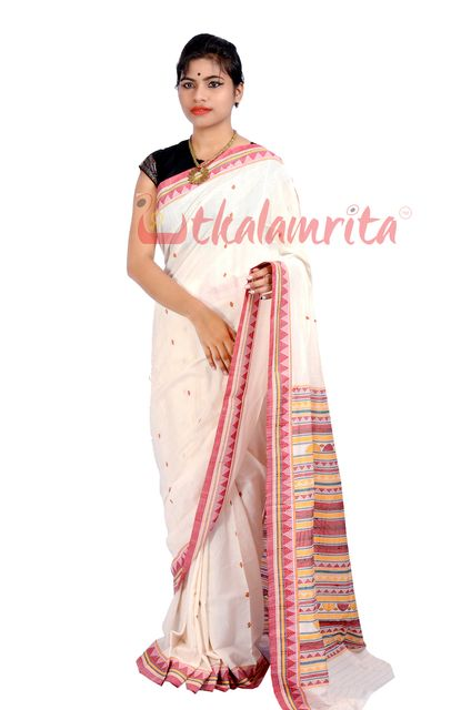 Dongria Saree In White And Pink