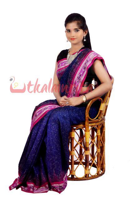 Jharana Saree  In Navy Blue With Wine Coloured Border