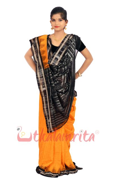 Jharana Saree In Gold  Colour With Black Border