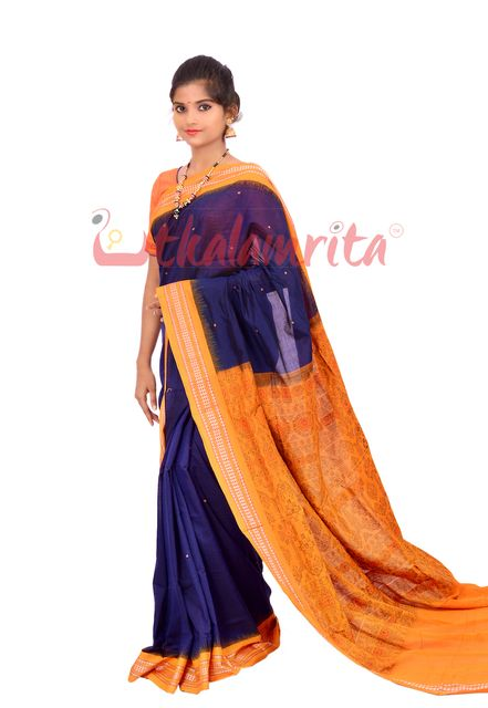 Single Buti Bomkai Saree In Navy Blue and Orange