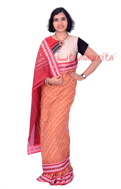 Pasapalli  Saree In Light Brown With Red Diagonal Lines and Diamond Pattern