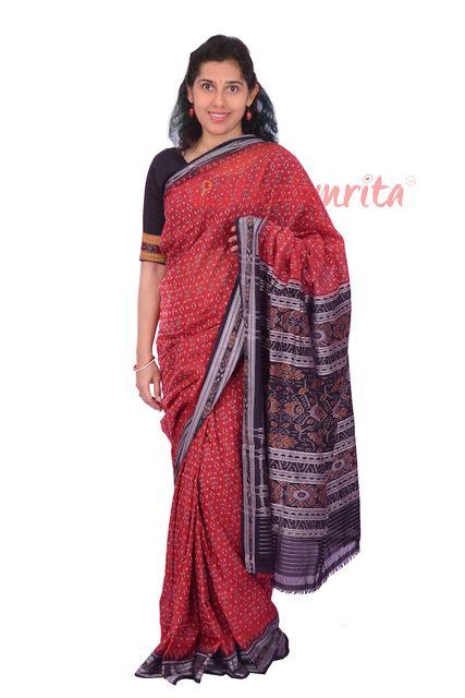 Single Ikat Body Bandha Saree In Red And Black