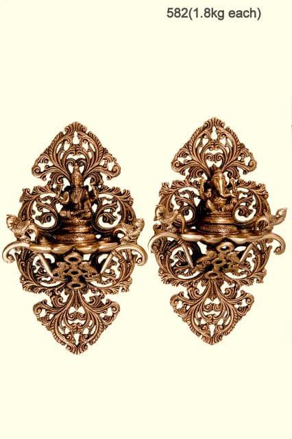 Brass Wall Hanging Ganesh & Laksmi set