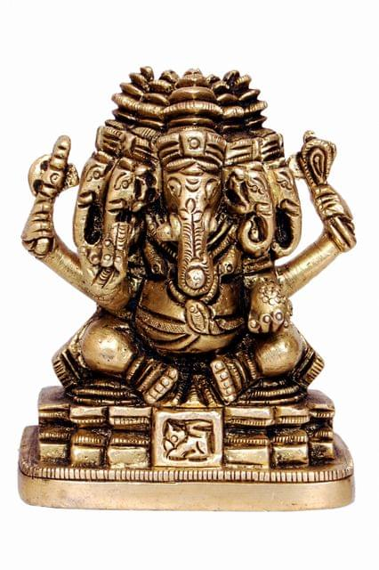 Brass Panchmukhi Ganesha - Small