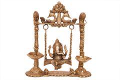 Brass Swing Ganesha - Small