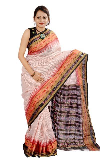 """Sambalpuri Sachipar """"Saree """"in White and Red"""