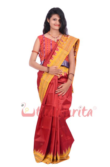 Khandua Silk in Red Yellow