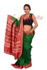 Berhampuri Patta Saree In Green And Red