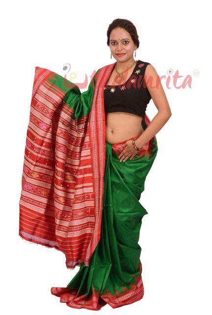 Berhampuri Patta Saree In Green And Red