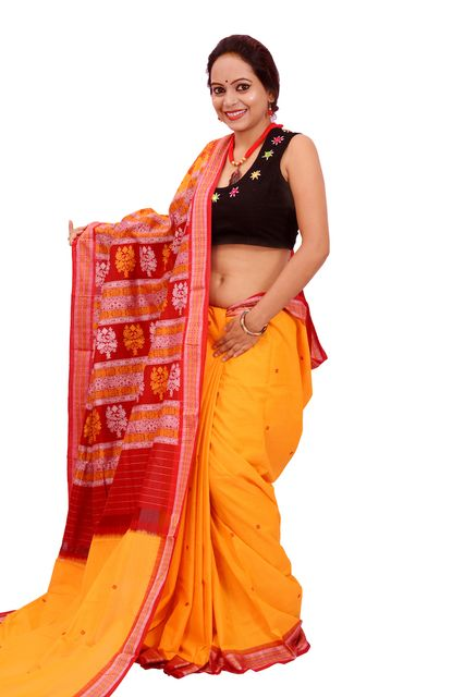 Bomkai Saree In Yellow And Red