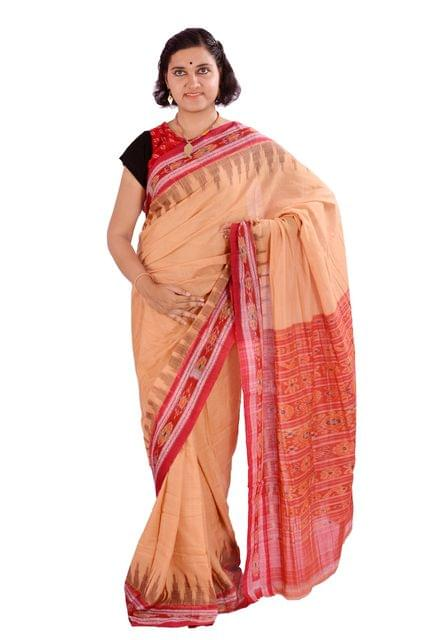 Kumbha Saree In Light Brown And Red
