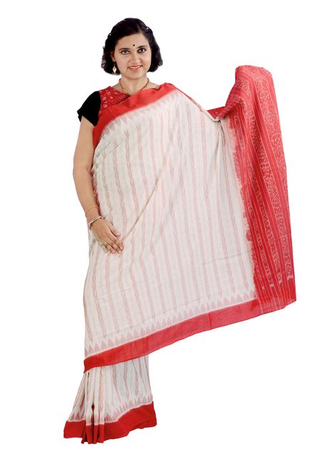 Dhanpatri Saree In Off-white And Red