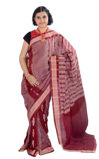 Sambalpuri - Maroon Jhaler Saree