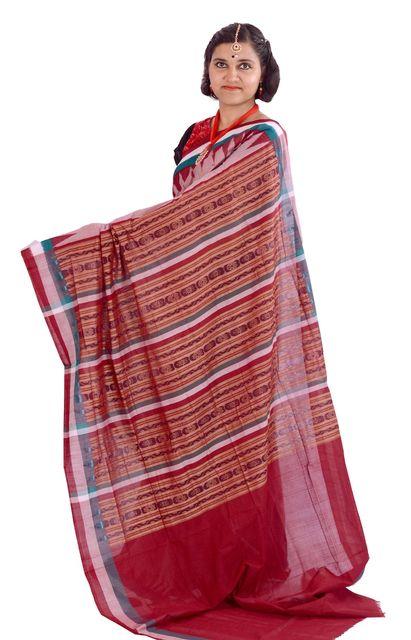 Sambalpuri-  Triple Colour Border Saree