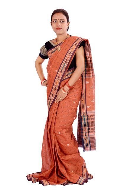 Maniabandhi Saree In Brown Colour
