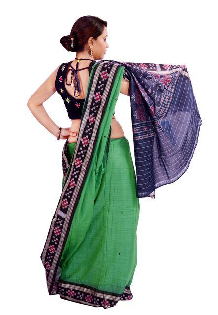 Rekha Buti Green And Black Saree