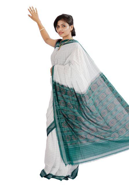 Sambalpuri Saree In White Green Checks