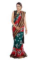 "Odisha Sakta Pasapalli Sambalpuri ""Saree"" In Red And Green"