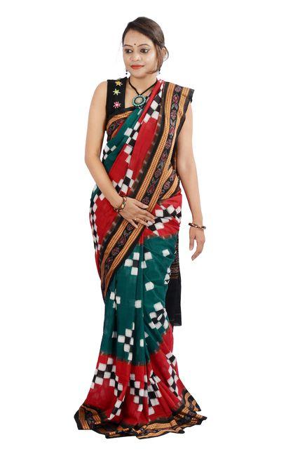 """Odisha Sakta Pasapalli Sambalpuri """"Saree"""" In Red And Green"""