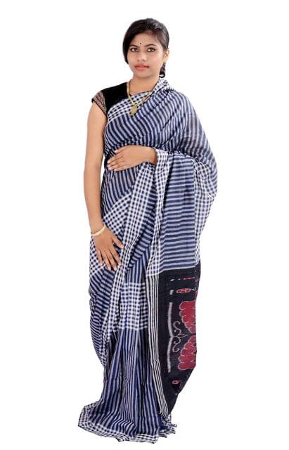 Odisha Navy Blue Checks Saree with Konark Chakra Aanchal