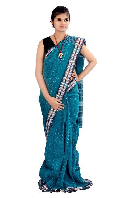 Odisha Maniabandi Saree In Moss Green Stripes