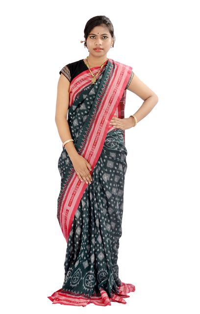 Odisha Chakra Taara Green And Red Saree