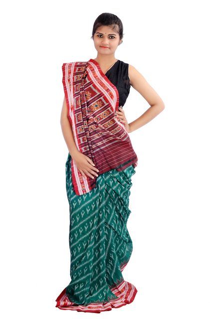 Odisha Labanga Saree In Green and Red Diagonal Lines