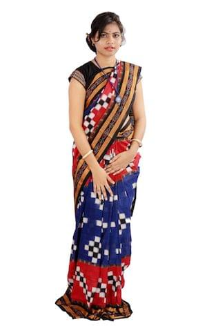 Odisha Sakta Blue and Red Saree