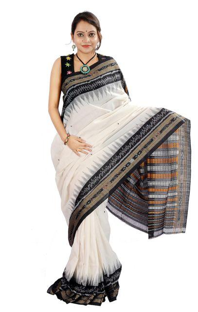 Odisha Kangula Saree In White and Black